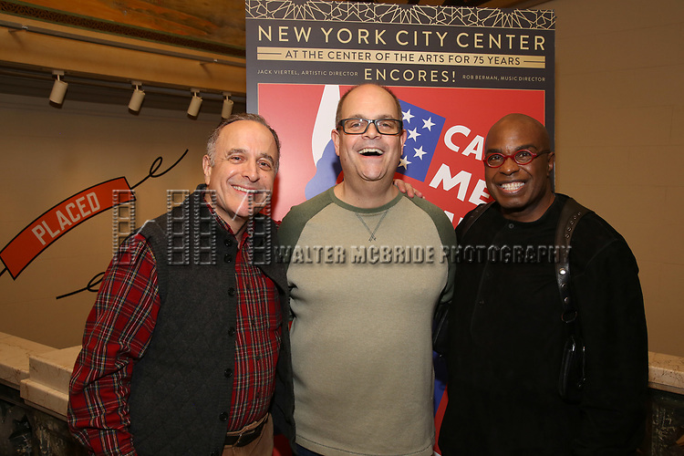 """Adam Heller, Brad Oscar and Stanley Wayne Mathis attends the closing Night performance reception for Encores! """"Call Me Madam"""" at City Center on February 10, 2019 in New York City."""