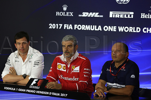 1st September 2017, Autodromo Nazionale Monza, Monza; Italian Grand Prix, Friday FIA Team Press Conference; Maurizio Arrivabene – Managing Director and Team Principal of Scuderia Ferrari, Frederic Vasseur – Team Principal and CEO of Sauber Motorsport AG and Toto Wolff - Executive Director and Head of Mercedes-Benz Motorsport