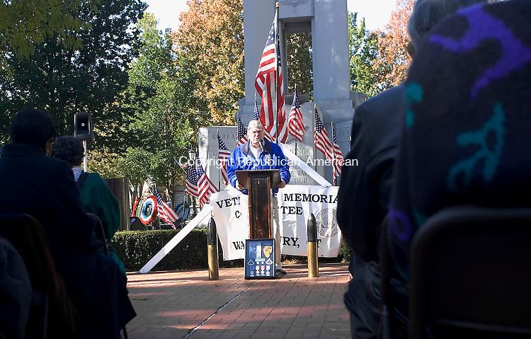 WATERBURY, CT- 11 NOV 2007- 111107JT08- <br /> Robert Dorr speaks during Veterans Day ceremonies at the Waterbury Green on Sunday.<br /> Josalee Thrift / Republican-American