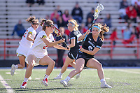 College Park, MD - April 27, 2019: John Hopkins Bluejays Maggie Schneidereith (6) makes a move during the game between John Hopkins and Maryland at  Capital One Field at Maryland Stadium in College Park, MD.  (Photo by Elliott Brown/Media Images International)
