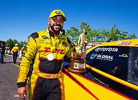 Apr 22, 2018; Baytown, TX, USA; NHRA funny car driver J.R. Todd celebrates after winning the Springnationals at Royal Purple Raceway. Mandatory Credit: Mark J. Rebilas-USA TODAY Sports