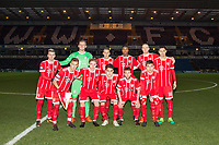 The Bayern Munich II pre match team photo (back row l-r) Mario Crnicki, Goalkeeper Leo Weinkauf, Fabian Benko, Maxime Awoudja, Thomas Isherwood & Raphael Obermair (front row l-r) Niklas Dorsch, Niklas Tarnat, Resul Turkkalesi, Angelo Mayer & Milos Pantovic during the Premier League International Cup match between Reading U23 and Bayern Munich II at the Adams Park, Wycombe, England on 8 December 2017. Photo by Andy Rowland.