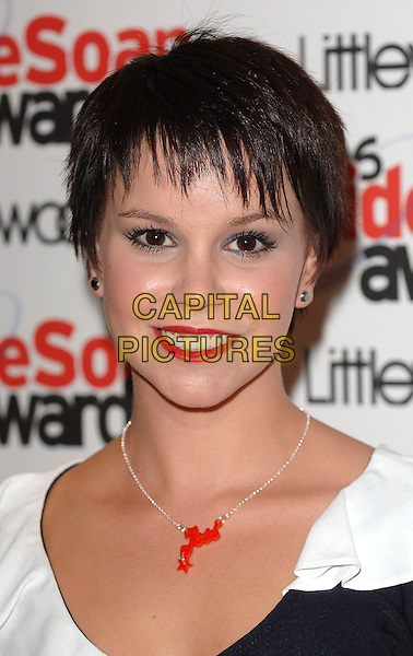 JESSICA FOX.The 2006 Inside Soap Awards at Floridita..25th September 2006  London, England.portrait headshot red silver necklace lipstick.CAP/BEL.© Tom Belcher/Capital Pictures.