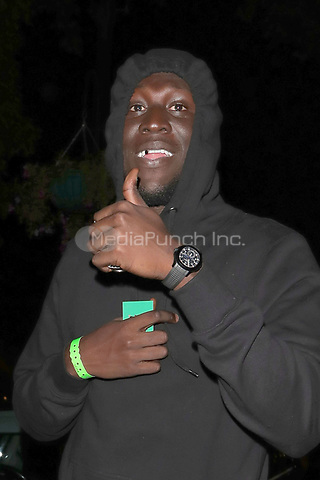 Stormzy is pictured arriving at Annabels Club for Drake's Scorpion Release Party in London.<br /> <br /> JULY 10th 2018<br /> <br /> REF: MNI 182531 _<br /> Credit: Matrix/MediaPunch ***FOR USA ONLY***