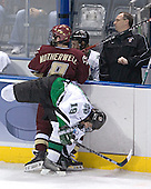 Mike Prpich, Brett Motherwell, Brian Lee, ? - The Boston College Eagles defeated the University of North Dakota Fighting Sioux 6-5 on Thursday, April 6, 2006, in the 2006 Frozen Four afternoon Semi-Final at the Bradley Center in Milwaukee, Wisconsin.
