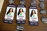 Campaign flyers and buttons for Ayanna Pressley lay on a table before Pressley spoke at an event put on by Chelsea Black Community at the Chelsea Senior Center in Chelsea, Massachusetts, USA, on Wed., June 27, 2018. Pressley is running in the Democratic primary Massachusetts 7th Congressional District against incumbent Mike Capuano. Pressley is currently serving as a member of the Boston City Council, and is the first woman of color elected to the Council.