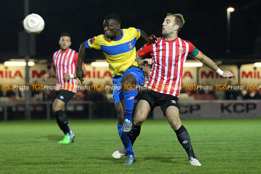 Akwasi Marfo of Romford and Elliot Styles of Hornchurch during AFC Hornchurch vs Romford, Ryman League Divison 1 North Football at Hornchurch Stadium, Upminster Bridge, UK on 27/10/2015