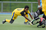 GER - Mannheim, Germany, May 16: During the whitsun tournament boys hockey match between Malaysia (yellow) and Germany U17 (black) on May 16, 2016 at Mannheimer HC in Mannheim, Germany. Final score 5-5 (HT 1-4). (Photo by Dirk Markgraf / www.265-images.com) *** Local caption *** Mohamad Akhimullah Anuar Esook #10 of Malaysia scores the leading goal 5-4