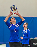 18 October 2015: Yeshiva University Maccabee Setter and Defensive Specialist Yael Ghelman, a Sophomore from Houston, TX, sets during game action against the College of Mount Saint Vincent Dolphins at the Peter Sharp Center, in Riverdale, NY. The Dolphins defeated the Maccabees 3-0 in the NCAA Division III Women's Volleyball Skyline matchup. Mandatory Credit: Ed Wolfstein Photo *** RAW (NEF) Image File Available ***