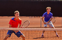 Netherlands, Rotterdam August 08, 2015, Tennis,  National Junior Championships, NJK, TV Victoria, Boys doubles: Maikel Borg and Joris Bodin (R)<br /> Photo: Tennisimages/Henk Koster
