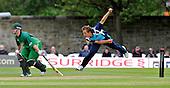 Cricket - ODI Summer Tri-Series - Scotland V Ireland at Grange CC - Edinburgh - Scot Josh Davey bowling past Ireland batsman Paul Stirling - Picture by Donald MacLeod - 12.07.11 - 07702 319 738 - www.donald-macleod.com