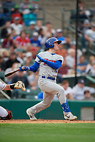Buffalo Bisons Billy McKinney (11) at bat during an International League game against the Rochester Red Wings on May 31, 2019 at Frontier Field in Rochester, New York.  Rochester defeated Buffalo 5-4 in ten innings.  (Mike Janes/Four Seam Images)