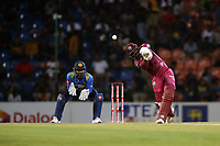 March 1st 2020,Pallekele International Cricket Stadium, Balagolla, Sri Lanka; One Day International cricket, Sri Lanka versus West Indies; Sunil Ambris hits a four back down the wicket