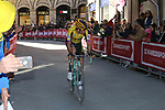 Wout Van Aert (BEL) Team Jumbo-Visma rounds the final corner to finish 3rd in Siena Strade Bianche 2019 running 184km from Siena to Siena, held over the white gravel roads of Tuscany, Italy. 9th March 2019.<br /> Picture: Seamus Yore | Cyclefile<br /> <br /> <br /> All photos usage must carry mandatory copyright credit (© Cyclefile | Seamus Yore)