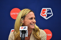 New York, NY - Thursday February 02, 2017: Christie Rampone during a joint NWSL and A+E Networks press conference at the A+E headquarters.