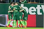 12.03.2018, Weser Stadion, Bremen, GER, 1.FBL, Werder Bremen vs 1.FC Koeln, im Bild<br /> <br /> Milot Rashica (Neuzugang Werder Bremen #11) 2 zu1 Jubel <br /> mit Florian Kainz (Werder Bremen #7)<br /> Maximilian Eggestein (Werder Bremen #35)<br /> Zlatko Junuzovic (Werder Bremen #16)<br /> Max Kruse (Werder Bremen #10)<br /> Foto &copy; nordphoto / Kokenge