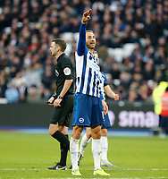 1st February 2020; London Stadium, London, England; English Premier League Football, West Ham United versus Brighton and Hove Albion; Glenn Murray  of Brighton and Hove Albion salutes the away supporters after VAR allows his goal to stand