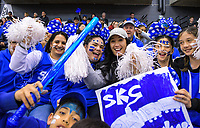 St Kentigern fans enjoy the 2019 Schick AA Boys' Secondary Schools Basketball National Championship final between St Kentigern and Rosmini College at the Central Energy Trust Arena in Palmerston North, New Zealand on Saturday, 5 October 2019. Photo: Dave Lintott / lintottphoto.co.nz