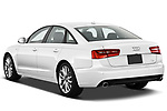 Straight rear view of 2012-2014 Audi A6  Premium Plus 4 Door Sedan stock images