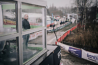 Sproza TV-host Karl Vannieuwkerke overlooking the course from his mobile TV-studio<br /> <br /> Belgian National CX Championschips<br /> Kruibeke 2019