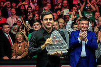 Ronnie O'Sullivan with the trophy after winning the Dafabet Masters FINAL between Barry Hawkins and Ronnie O'Sullivan at Alexandra Palace, London, England on 17 January 2016. Photo by Liam Smith / PRiME Media Images