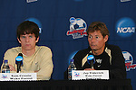 13 December 2007: Wake Forest's Sam Cronin (l) and head coach Jay Vidovich (r). The Wake Forest University Demon Deacons held a press conference at SAS Stadium in Cary, North Carolina one day before playing in a NCAA Division I Mens College Cup semifinal game.
