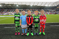 Children mascots before the Barclays Premier League match between Swansea City and Bournemouth at the Liberty Stadium, Swansea on November 21 2015