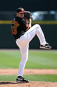 May 13, 2009:  Starting Pitcher Brian Duensing of the Rochester Red Wings, International League Class-AAA affiliate of the Minnesota Twins, delivers a pitch during a game at Frontier Field in Rochester, FL.  Photo by:  Mike Janes/Four Seam Images