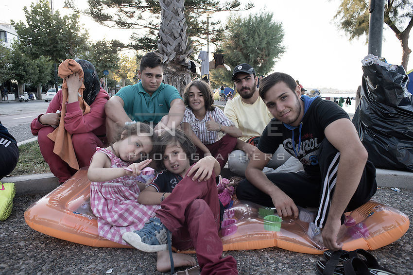 Syrian family camping out in the street on the promenade. Kos, Greece. Sept. 5, 2015