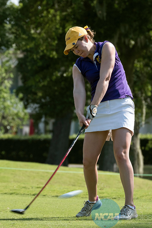HOUSTON, TX - MAY 12: Sophie Kitche of Williams College tees off during the Division III Women's Golf Championship held at Bay Oaks Country Club on May 12, 2017 in Houston, Texas. (Photo by Rudy Gonzalez/NCAA Photos/NCAA Photos via Getty Images)