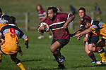 Selwyn Tuhi charges past Craig Wilson & lines up Nick Oakden as he makes one of his telling runs during the CMRFU Counties Power Cup Game of the Week between Te Kauwhata & Puni played at Te Kauwhata on Saturday May the 3rd, 2008..Te Kauwhata led 5 - 0 at halftime & went on to win 29 - 0.
