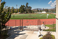 View of Kemp Stadium, Patterson Field and the Bill Henry Track as seen through the art gate, Sept. 28, 2016.<br /> (Photo by Marc Campos, Occidental College Photographer)
