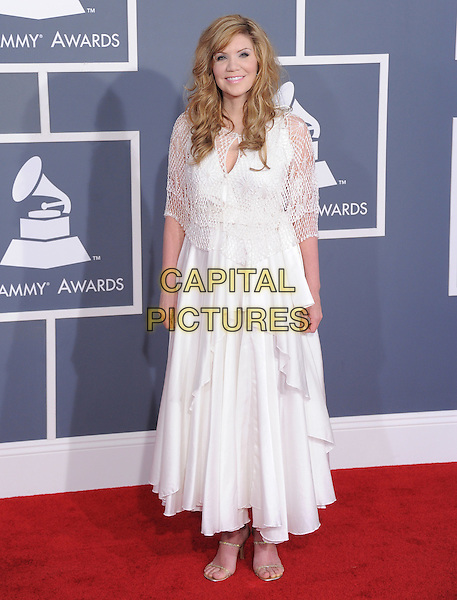 Alison Kraus.The 54th Annual GRAMMY Awards held at The Staples Center in Los Angeles, California, USA..February 12th, 2012.full length white dress crochet.CAP/RKE/DVS.©DVS/RockinExposures/Capital Pictures.