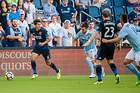 Kansas City, KS - Wednesday August 9, 2017: Shea Salinas, Graham Zusi during a Lamar Hunt U.S. Open Cup Semifinal match between Sporting Kansas City and the San Jose Earthquakes at Children's Mercy Park.