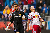 Fabian Espindola (9) of the New York Red Bulls reacts to a missed scoring opportunity during the first half against the Los Angeles Galaxy during a Major League Soccer (MLS) match at Red Bull Arena in Harrison, NJ, on May 19, 2013.
