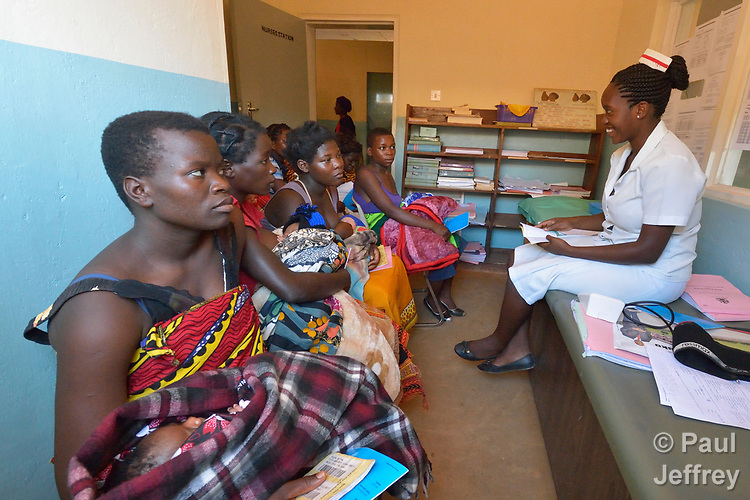 A nurse gives a health talk to women who've just given birth in the Embangweni Hospital, in Embangweni, Malawi. The hospital is supported by the Maternal, Newborn and Child Health program of the Livingstonia Synod of the Church of Central Africa Presbyterian.