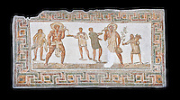 3rd century AD Roman mosaic panel of a drinking scene from Dougga, Tunisia.  The Bardo Museum, Tunis, Tunisia. Black background