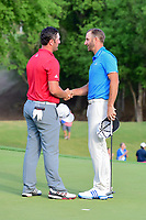 Dustin Johnson (USA) and Jon Rahm (ESP) shake hands following round 7 of the World Golf Championships, Dell Technologies Match Play, Austin Country Club, Austin, Texas, USA. 3/26/2017.<br /> Picture: Golffile | Ken Murray<br /> <br /> <br /> All photo usage must carry mandatory copyright credit (&copy; Golffile | Ken Murray)