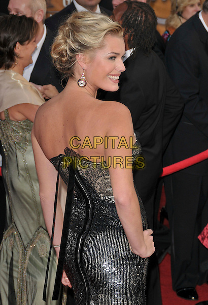 REBECCA ROMIJN O'CONNELL .At The 14th annual Screen Actors Guild Awards (SAG Awards)  held at Shrine Auditorium, Los Angeles, California USA, January 27, 2008..half length strapless  black silver dress hand on hip lace back over shoulder.CAP/DVS.©Debbie VanStory/Capital Pictures