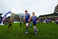 Charlie Ewels, mascot in hand, leads the Bath Rugby team out onto the pitch. Gallagher Premiership match, between Bath Rugby and Sale Sharks on December 2, 2018 at the Recreation Ground in Bath, England. Photo by: Patrick Khachfe / Onside Images