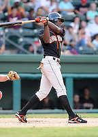 July 25, 2009: Outfielder Xavier Avery (1) of the Delmarva Shorebirds, Class A affiliate of the Baltimore Orioles, in a game at Fluor Field at the West End in Greenville, S.C. Photo by: Tom Priddy/Four Seam Images