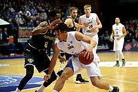 GRONINGEN - Basketbal, Donar - Telenet Giants Antwerp, Martiniplaza,  Europe Cup, seizoen 2017-2018, 06-12-2017,  Donar speler Sean Cunningham met Antwerp speler Jason Clark