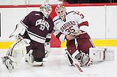 Bruce Racine (Colgate - 33), Michael Lackey (Harvard - 35) - The Harvard University Crimson defeated the visiting Colgate University Raiders 7-4 (EN) on Saturday, February 20, 2016, at Bright-Landry Hockey Center in Boston, Massachusetts,