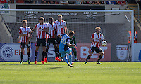 Harry Cornick of Leyton Orient shoots direct from a free kick during the Sky Bet League 2 match between Cheltenham Town and Leyton Orient at the LCI Rail Stadium, Cheltenham, England on 6 August 2016. Photo by Mark  Hawkins / PRiME Media Images.