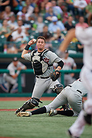 Tri-City ValleyCats catcher Korey Lee (35) throws to first base during a NY-Penn League game against the Brooklyn Cyclones on August 17, 2019 at MCU Park in Brooklyn, New York.  The game was postponed due to inclement weather, Brooklyn defeated Tri-City 2-1 in the continuation of the game on August 18th.  (Mike Janes/Four Seam Images)