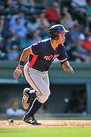 First baseman Carlos Castro (51) of the Rome Braves runs toward first in a game against the Greenville Drive on Sunday, July 31, 2016, at Fluor Field at the West End in Greenville, South Carolina. Rome won, 6-3. (Tom Priddy/Four Seam Images)