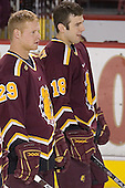Chad Haacke, Mark Bomersback - The Boston College Eagles and Ferris State Bulldogs tied at 3 in the opening game of the Denver Cup on Friday, December 30, 2005, at Magness Arena in Denver, Colorado.  Boston College won the shootout to determine which team would advance to the Final.