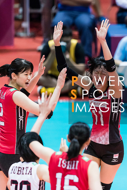 Wing spiker Yurie Nabeya (R) of Japan celebrates with her teammates during the FIVB Volleyball World Grand Prix - Hong Kong 2017 match between Japan and Serbia on 22 July 2017, in Hong Kong, China. Photo by Yu Chun Christopher Wong / Power Sport Images