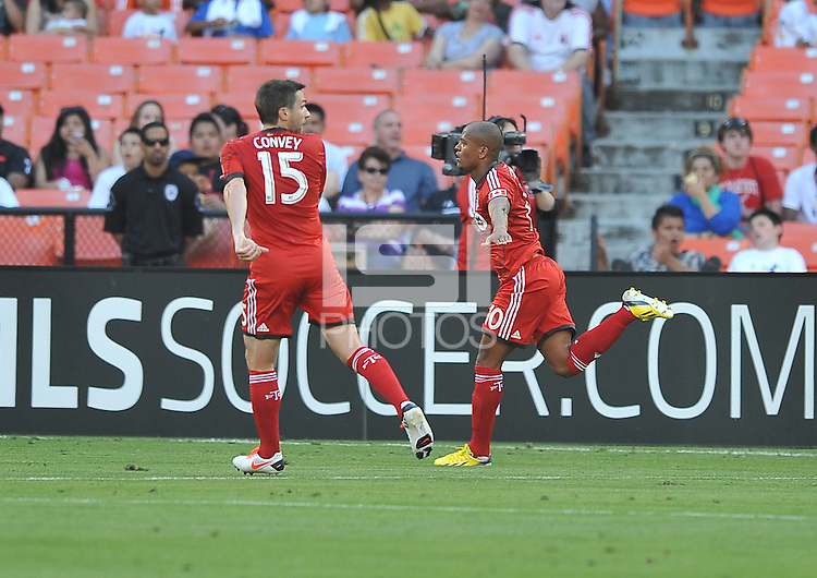 Toronto FC Robert Earnshaw (10) celebrates his score in the 30th minute oft the game. Toronto FC defeated D.C. United 2-1, at RFK Stadium, Saturday June 15 , 2013.