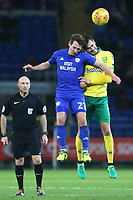 Craig Bryson of Cardiff City contends with Mario Vrancic of Norwich City during the Sky Bet Championship match between Cardiff City and Norwich City at The Cardiff City Stadium, Wales, UK. Friday 01 December 2017